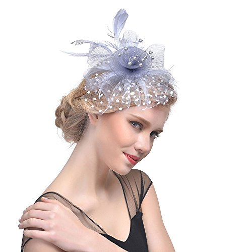 (LYN Star✨ Flax Hair Clip Feather Barrette Hairpin Party Fascinator Headband Cocktail Hat for Women Girls Gray)