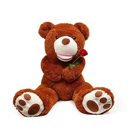 LApapaye Giant Teddy Bears Stuffed Animal Teddy Bear with Footprints Big Toys Life Size Plush Toy for Girlfriend (DB-50inch)