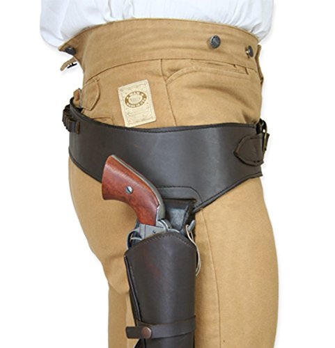 Historical Emporium Men's Right Hand Plain Leather Western Gun Belt and Holster .44/.45 Cal 40 Oiled Brown