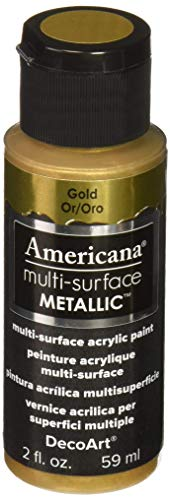 DecoArt Americana Multi-Surface Metallic Paint, 2-Ounce, Gold (DA553-30) -
