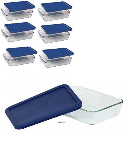 Rectangular Storage Dish - Pyrex 3 Cup Storage Plus Rectangular Dish With Plastic Cover Sold in packs of 6