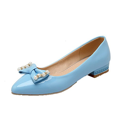 Pumps Toe Closed Pull Solid On Heels Low VogueZone009 Pointed Shoes Blue Women's PU xqywFUXvgZ