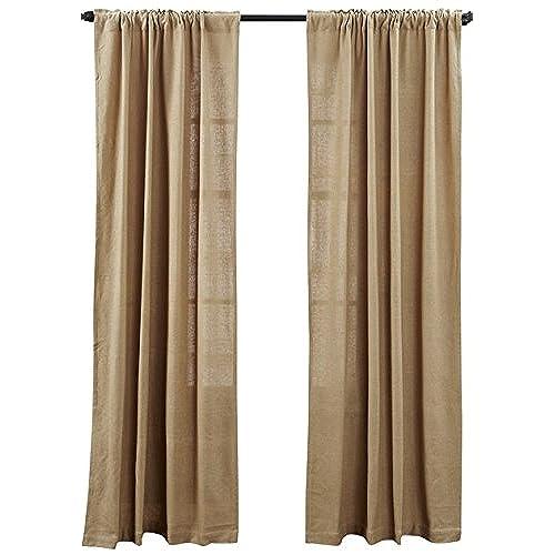 Deluxe Burlap Natural Tan Panel Curtain