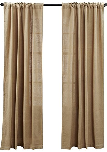 (Deluxe Burlap Natural Tan Panel Curtain)