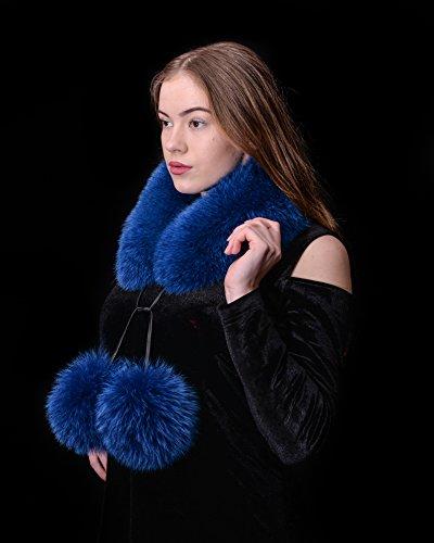 Saga Furs Blue Fox Fur Handmade Scarf Collar + Huge Pom Pom by Your Furrier