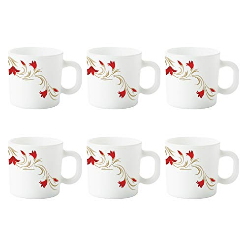 Larah by Borosil Red Lily Opalware Mug Set, 6-Pieces, White Price & Reviews