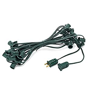 """Holiday Lighting Outlet C7 Christmas Light String, Patio Event Lighting, 25', Green Cord, 12"""" Socket Spacing, E12"""