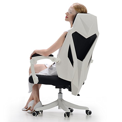 Hbada Gaming Office Desk Chair – Ergonomic High-Back Swivel Task Racing Chair with Lumbar Support – Height Adjustable Seat – Breathable Mesh Back – Soft Memory Foam Cushion – White