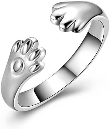 Women's S925 Sterling Silver Cat Paw Women Open Ring Can Adjustable Animal Rings