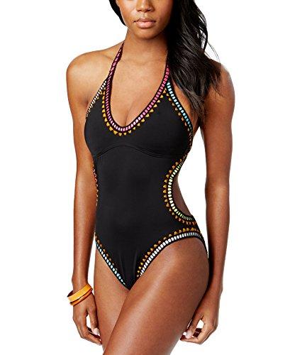 (Bar III Womens Be Weave It Monokini Cut Out One-Piece Swimsuit Black XL)
