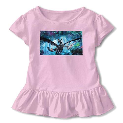 Kid T Shirt How to Train Your Dra-gon 3 3D Tee Baseball Ruffle Short Sleeve Cotton Shirts Top for Girls Kids Pink2T