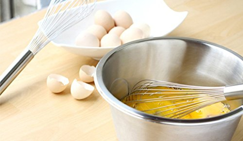 """Ouddy 3 Pack Stainless Steel Whisks 8""""+10""""+12"""", Wire Whisk Set Kitchen wisks for Cooking, Blending, Whisking, Beating, Stirring"""