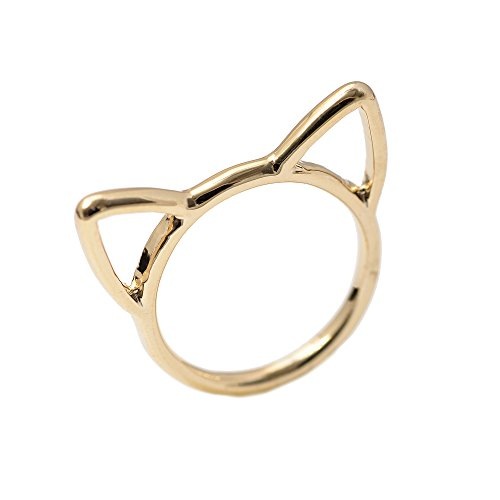 - Spinningdaisy Cut Out Stacking Up Cat Ear Ring Gold