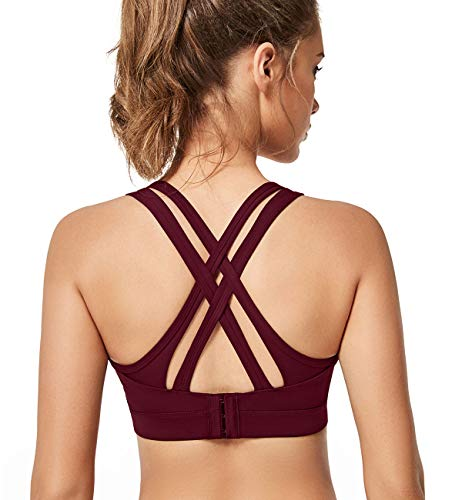 Yvette Strappy Criss Cross Back Sports Bras High Impact Adjustable Workout Bra for Plus Size Women, Burgundy, M(DF) (The Best Sports Bra For Big Busts Uk)