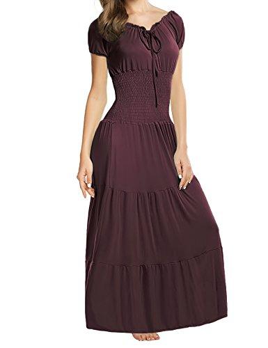 Meaneor Women Boho Cap Sleeve Smocked Waist Tiered Renaissance Summer Maxi Dress (M, Dark Brown) (Waist Tie Cap Sleeve Dress)