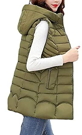 Macondoo Womens Outdoor Puffer Vest Winter Quilted Hooded Down Vest Coat Army Green XS