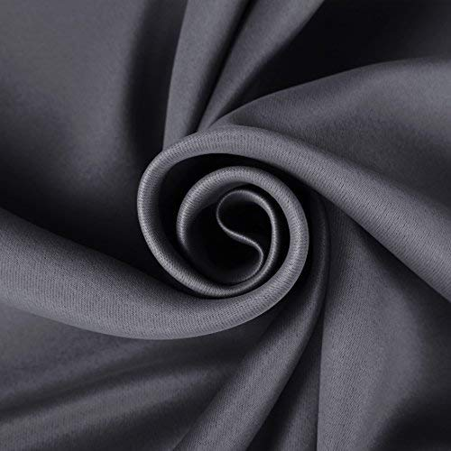 EASELAND 99% Blackout Curtains 2 Panels Set Room Darkening Drapes Thermal Insulated Solid Grommets Window Treatment Pair for Bedroom, Nursery, Living Room,W52xL63 inch,Dark Grey - bedroomdesign.us