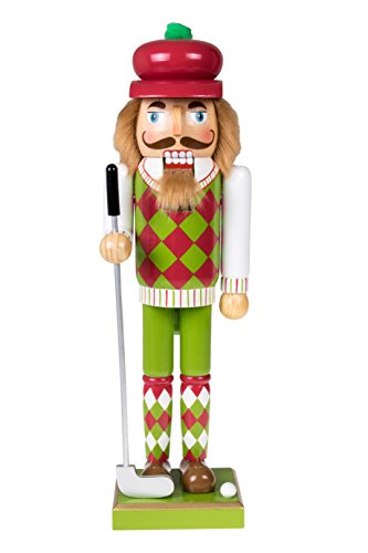 Golf Collectible (Clever Creations Golfer Christmas Nutcracker Festive Red and Green Argyle Sweater | Holding Golf Club with Golf Ball | Perfect for Shelves and Tables | Collectible Wooden Nutcracker | 14
