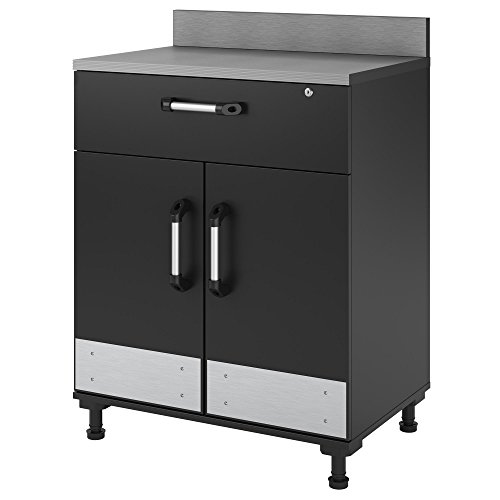 Ameriwood Home Base Cabinet 2 Door and 1 Drawer, Gray - 2 Door Storage Base Cabinet