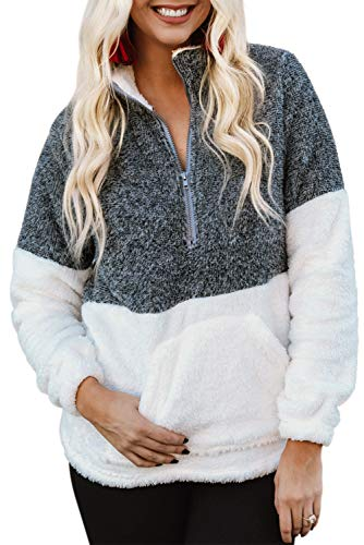(Chase Secret Womens Long Sleeve Fuzzy Oversized Sherpa Pullover with Pockets Zip Sweatshirt X-Large As Shown)