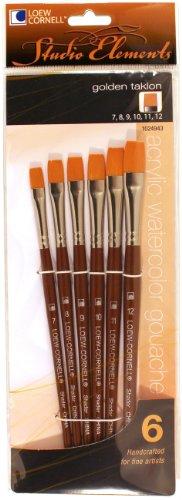 Loew-Cornell 1024943 Studio Elements Golden Taklon Short Handle Flat Large Brush Set