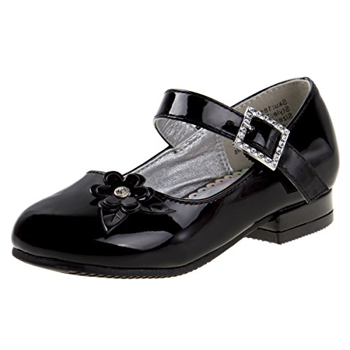 'Josmo Girls Low Heel Dress Shoes with Rhinestone Buckle and Flower, Black, Size 12 US Little Kid' (Patent Dress Shoes)