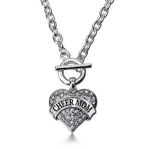 Cheer Mom Necklace (Inspired Silver Cheer Mom Pave Heart Toggle Necklace Clear Crystal Rhinestones)
