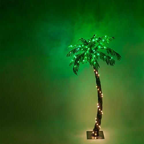 Kringle Traditions 10 Function LED Lighted Palm Tree - Pre-Lit Palm Tree Indoor/Outdoor - Remoted Controlled with Timer (5 Ft) (7-5 Ft Pre Lit Artificial Christmas Trees)