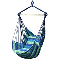 Wnnideo Porch Swings Hanging Rope Chair Blue Portable Canvas Striped Swing Hammock Sleeping Bed Porch Seat with Pillow for Outdoor Yard Patio Travel Camping Garden up to 265 Pounds