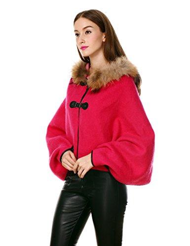 Ferand - Preciosa Capa de Lana con Capucha en Auténtica Piel de Mapache, Poncho Abrigo de Otoño e Invierno - Mujer Rosa Fucsia
