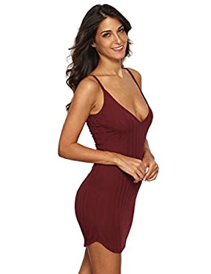 MakeMeChic Women's Sexy Deep V Neck Bodycon Club Night Party Mini Dress