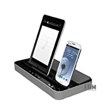 Multi-Function Docking Station Charger Speaker for iPhone 5/4/4S,iPad 2/3/4/iPad mini,Samsung device-Silver