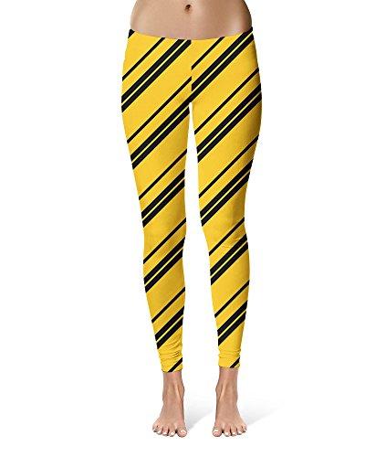 Hufflepuff Full Costume (Harry Potter Inspired House Stripes Sport Leggings - Full Length, Mid/High Waist)
