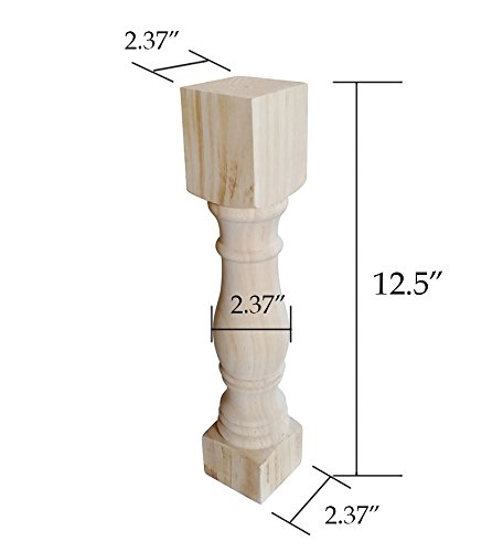 """Btibpse 12.5"""" Traditional Bench Legs Unfinished Coffee Table Legs, TV Bench Leg, Set of 4"""