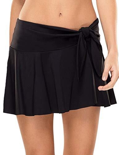 luvamia Women's Swim Skirt Side Tie Knot Ruffle Skort Bikini Swimsuit Bottom Solid Black Medium (Fits US 8 - US 10)