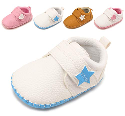 (Cindear Newborn Baby Boys Girls Shoes Infant Soft Anti-Slip Sole Synthetic Leather Crib Shoes Flats Five-Pointed Star Velcro White-Blue 12-18 Months)