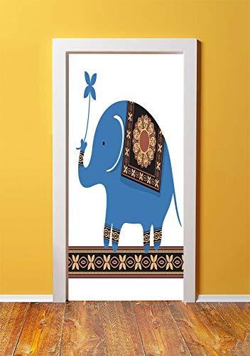 (Cartoon 3D Door Sticker Wall Decals Mural Wallpaper,Cute Circus Elephant Indian Flower Medallions Ornament Cartoon Illustration,DIY Art Home Decor Poster Decoration 30.3x78.571,Blue Sand Brown )