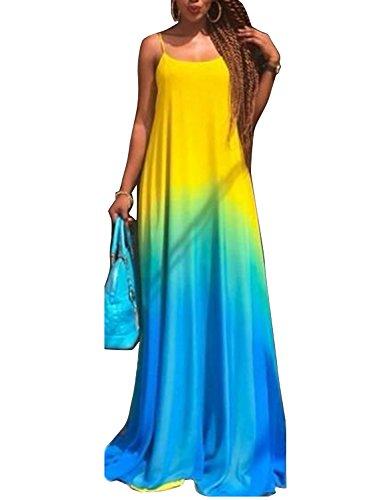 Pretid Women Fashion Sexy Gradient Sleeveless Swing Floral Long Maxi Dress