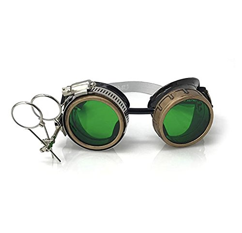 Steampunk Victorian Style Goggles with Compass Design, Emerald Green Lenses & Ocular Loupe by UMBRELLALABORATORY (Image #7)