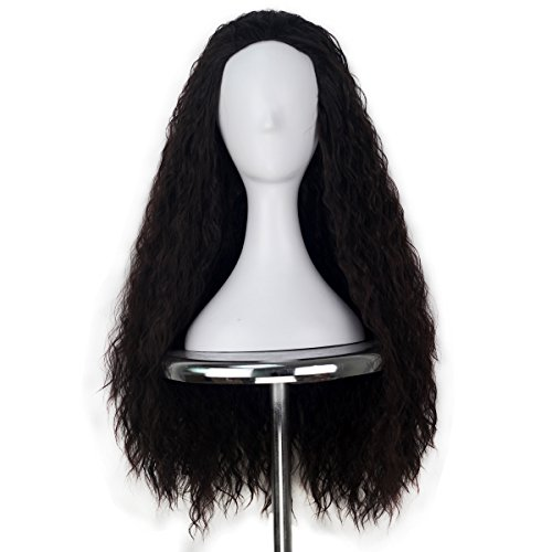 Unisex Women 80cm Long Curly Dark Brown Hair Halloween Cosplay Costume Wig for Girl]()