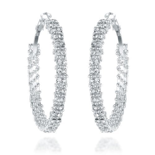 Swarovski Crystal Evening Bag - Gemini Women's Silver Plated Swarovski Crystal Big Large Round Hoop Earring, Size: 1.5