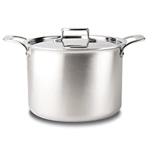 All-Clad BD552043 Stainless Steel D5 Brushed 5-Ply Bonded Dishwasher Safe Soup Pot with Lid, 4-Quart, Silver