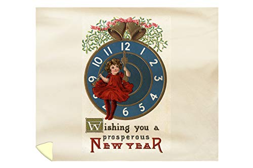 New Years Holiday Vintage Antique - Lantern Press Wishing You a Prosperous New Year - Girl in Red Sitting on Clock - Vintage Holiday Art 10541 (88x104 King Microfiber Duvet Cover)