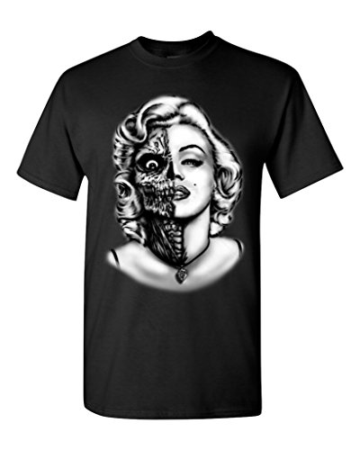 Shop4Ever® Half Zombie Face T-shirt Marilyn Monroe Shirts