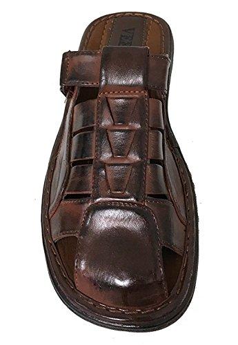 Sandals Strap Brown Men's G4U 0982 Closed Adjustable Shoes Toe Fisherman Summer Flip CTS Slide Casual Flops w1nEqInga