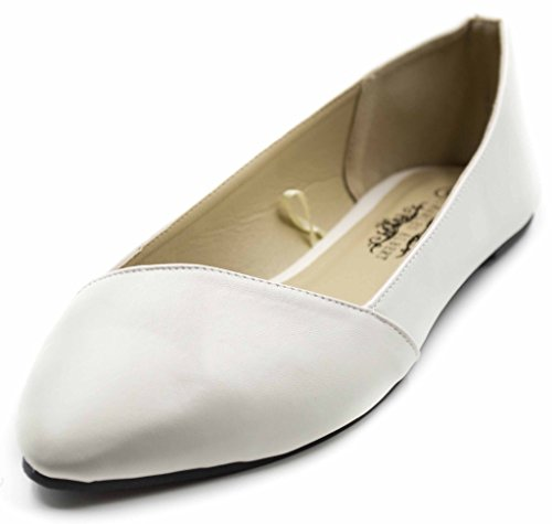 Women's Almond Asymmetrical Charles Pointed White Ballet Flats Toe Albert qIwAa5