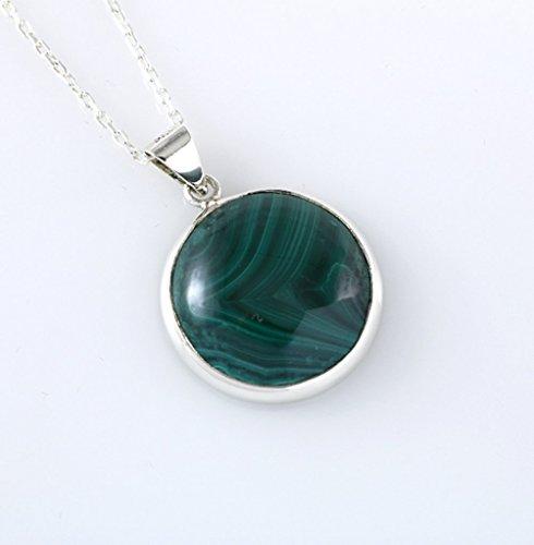 Sterling Silver Round Genuine Green Malachite Gemstone Heart Chakra Healing Handmade Pendant 16+2'' Chain (Genuine Malachite Pendant)