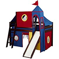 JACKPOT! Twin Low Loft with Angled Ladder/Slide, Blue/Red/Yellow Curtain, Top Tent and Tower, Cherry