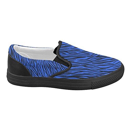 D-Story Custom Blue Zebra Stripes Womens Slip on Canvas Shoes (Model 019) lGIXN