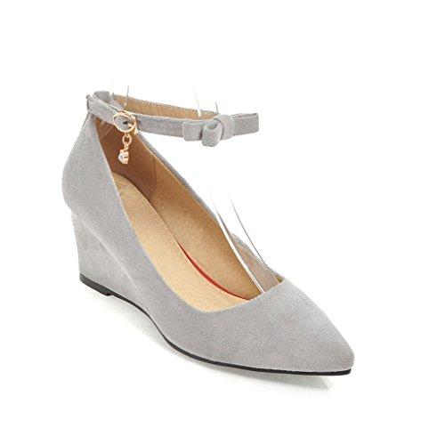 Qin&X Bloque de la Mujer Señaló la convergencia Boca Superficial Zapatos Gris